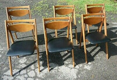 6 Vintage Stakmore Folding Chairs Mid Century Mocern Mcm. Set Of Six.