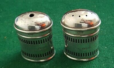 1934 CHESTER SOLID SILVER SALT & PEPPER POTS  CWS Ltd, BLUE GLASS LINERS 76g