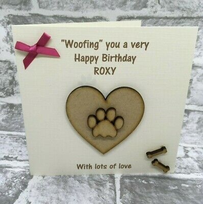 Personalised Birthday Card for the Dog - Heart Paw Bones - Pink or Blue Bow NEW