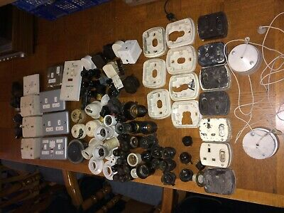 Job Lots Rare Mixed Bakelite Vintage Mk Plugs Socket Switches Light Fitting