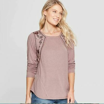 Women's Floral Print Long Sleeve Embroidered Sweatshirt - Knox Rose - NWT