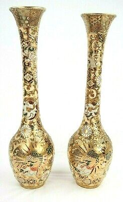 Antique Early 20th Century Signed Moriage Satsuma Pair Long Vases 15.5 Inches