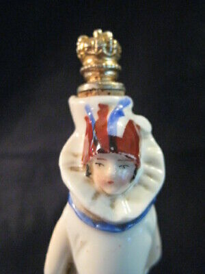 Vintage Art Deco Figural Crown Top German Perfume Bottle 1920's Flapper Lady A+
