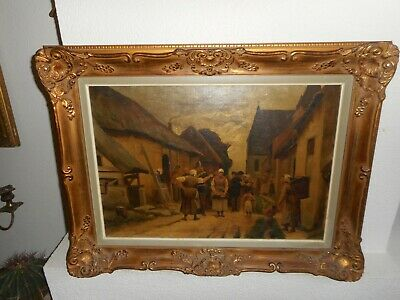 Antique oil painting,{ Soldiers telling people to leave the village, nice frame}