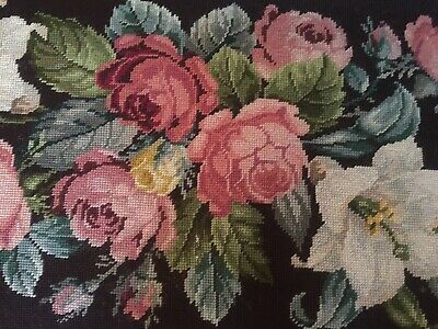 Vintage French Provincial Carved Wood Brown Tapestry Floral Needlepoint Bench