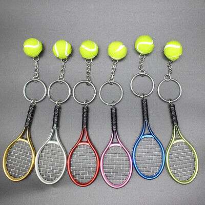 6pcs Tennis Racket Keychain Simulation Cute Keyring for Family Friends Children