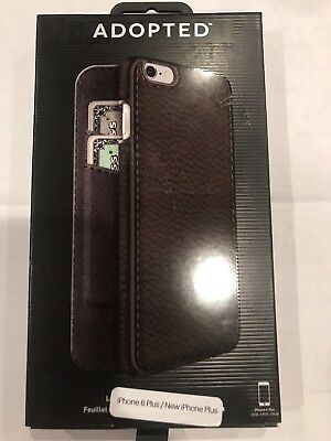 New OEM Apple iPhone 6 Plus 6s Plus Adopted Brown Leather Folio Wallet Case