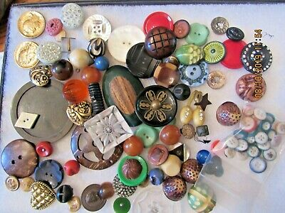 Antique vintage lot metal wood bubble buffed Bakelite Celluloid rhinestone glass
