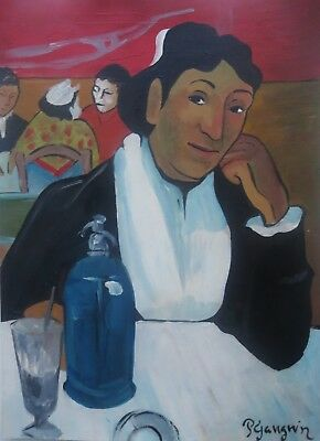 Unique tempera and oil painting on paper, mythic life, signed Paul Gauguin