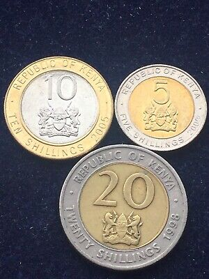 Kenya Set 3 Coins 5 10 20 Shillings 1998 - 2009 COINS AFRICA CURRENCY XF+