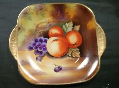 Vintage Japanese Porcelain Plate Hand Painted, China Fruits Design Signed