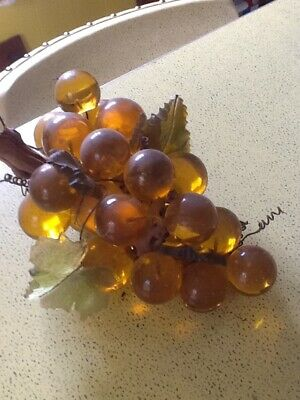 Vintage Lucite Acrylic Grape Bunch - amber with acrylic leaves