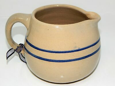 Antique Vintage Stoneware Pitcher Pottery Crock with Blue Band/Stripes Primitive