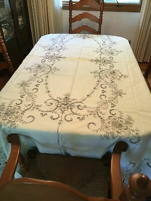 Madeira Embroidered Cutwork Cotton Tablecloth Vintage Never Used