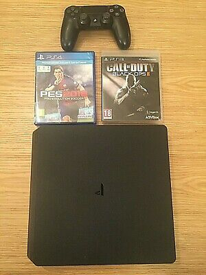 Sony PlayStation PS4 Slim CUH2116A 500GB Jet Black Console + controller +2 games