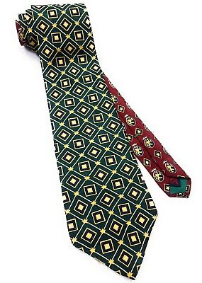 Tommy Hilfiger Mens Tie Ties Green Burgundy Gold Pattern Italian Silk Necktie