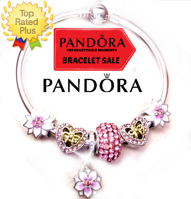 Authentic Pandora Bracelet Silver Bangle with Pink Hearts Flower European Charms