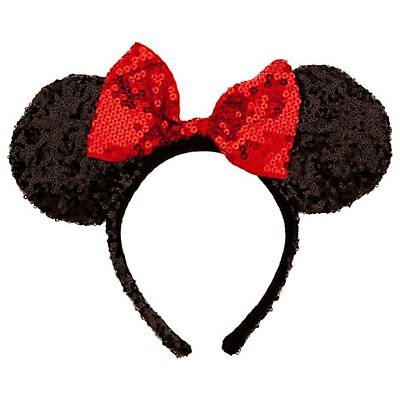 Disney Parks Minnie Mouse Multiple Sequin Headband Red Black Ears Party Costume