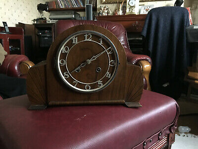 antique vintage mantel piece clock for repair wood case glass missing
