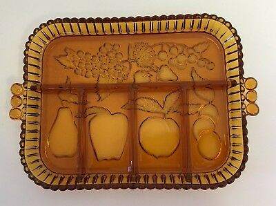 Indiana Glass Company Amber Relish Dish