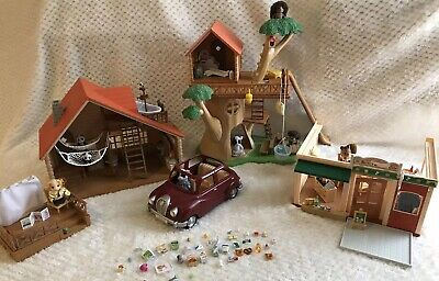 HUGE Calico Critters House Cabin Lakeside Lodge Treehouse Car and accessories