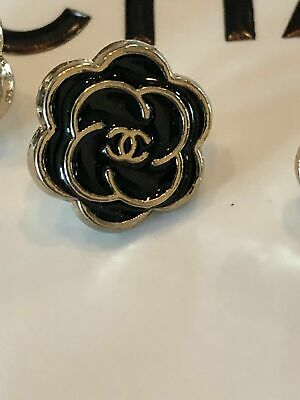CC Chanel Camellia Flower Logo Black and Gold Trim Button 10 mm Blouse  - GIFT