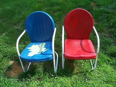 Vintage 1950s Metal Lawn Patio Porch Chairs Matching Pair Old Springy Frames