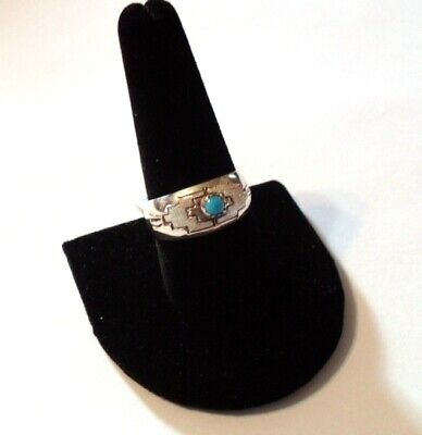 Stamped Domed Sterling Silver Turquoise Band Ring Sz 9.5