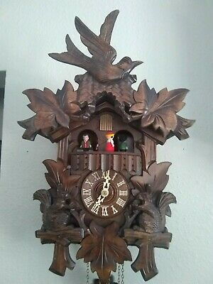 Cuckoo Clock Black Forest 1 Day Original German Wood Carving Mechanical Works !