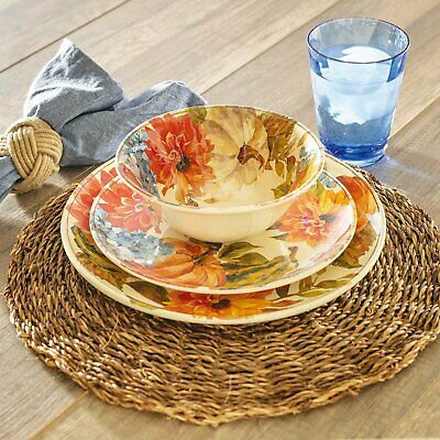 Fall Harvest Melamine Dinnerware 12P Set Indoor Outdoor Pumpkin Floral Halloween