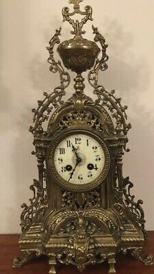 Antique Frence Gilt Metal Mantle Clock Early 19 Century  Good Working Order