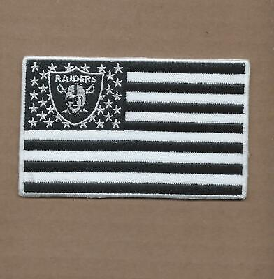 New 2 1/2 X 4 Inch Oakland Raiders Flag Iron On Patch Free Shipping P1