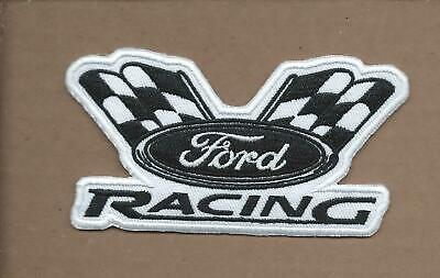 New 2 1/4 X 4 Inch B&W Ford Racing Iron On Patch Free Shipping P1