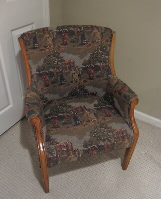 Vintage Period Figural SCENIC TAPESTRY CHAIR Antique English Manor Victorian