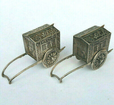 Rare Antique Japanese Sterling Silver 950 Figural WAGON Salt & Pepper Shakers NR