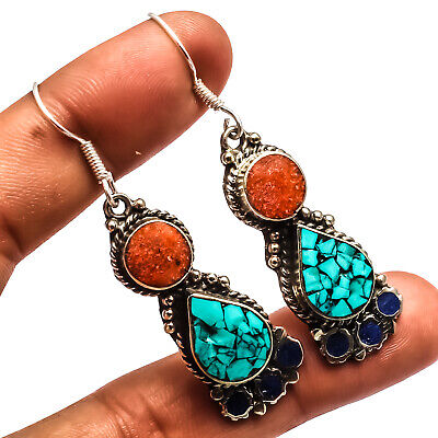 """Blue Turquoise Red Coral Lapis 925 Silver Overlay Earring Jewelry Sz 2.46"""""""