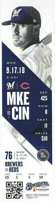 Cincinnati Reds vs Milwaukee Brewers Ticket Stub 9/17/18 - Mint! Yelich Cycle!