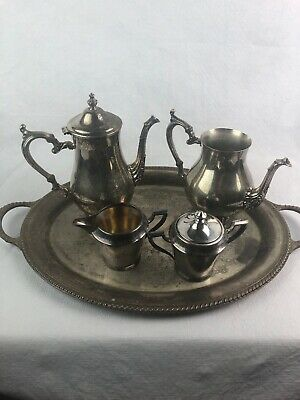 Vintage W.M. Rogers 800 Sterling Silver Plate Coffee Tea Tray Set Creamer Sugar