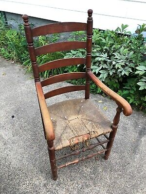 Antique ladder back oak rush dinner seat captains Chair vintage old