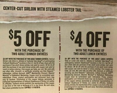 2 Sheets Outback Steakhouse Coupons 🥩 🥔  Expire 11/18/19