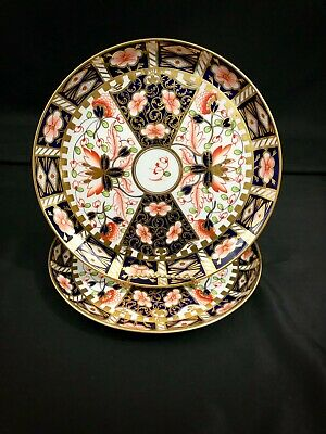 Rare 2 Antique Royal Crown Derby Imari 6299 Tray Plates Witches Pattern 9""