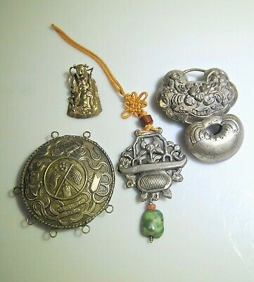 Old Estate Collection Of 5 Antique Chinese Silver Locks, Pendants & Ornaments
