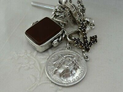 Antique Wide Sterling Silver Watch Chain Necklace Pop Out Coin Garnet Anchor Fob