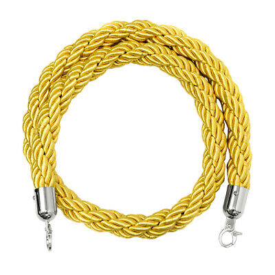 Nylon Rope Crowd Control Stanchion Post Queue Line Barrier Yellow with Hook