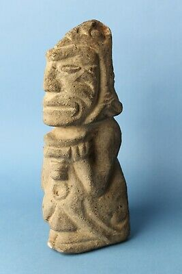 Prehistoric  Stone Sculpture - Figure Holding Bowl - Columbia River - No Reserve