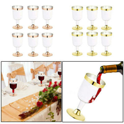 6x Disposable Plastic Red Wine Glass Champagne Flute Cocktail Party Drink Cup