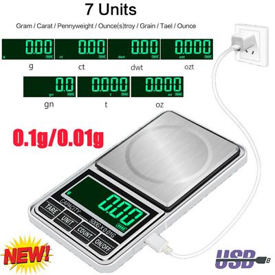 LCD Digital Scale Pocket Jewelry Weighing Gram Electronic Balance 0.01g/0.1g USB