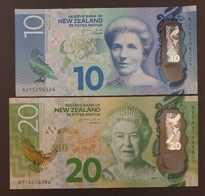 NEW ZEALAND - 2x Polymer UNC Bank Notes - 1x $10 and 1x $20 Notes