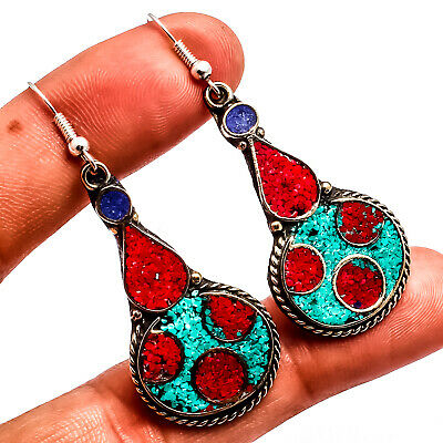 """Red Coral Blue Turquoise Lapis 925 Silver Overlay Earring Jewelry Sz 2.38"""""""