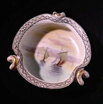 Hand Painted Nippon Gold Gilded Rim Violet Pattern Porcelain Candy Dish Heart